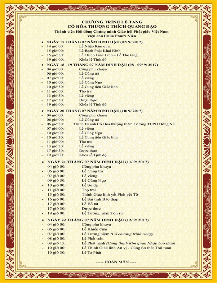 Chương trình tang lễ HT. Thích Quang Đạo