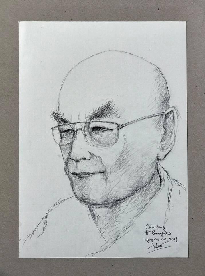 Tranh vẽ chân dung Hòa thượng Thích Quang Đạo - tác giả: Nhuận Đức