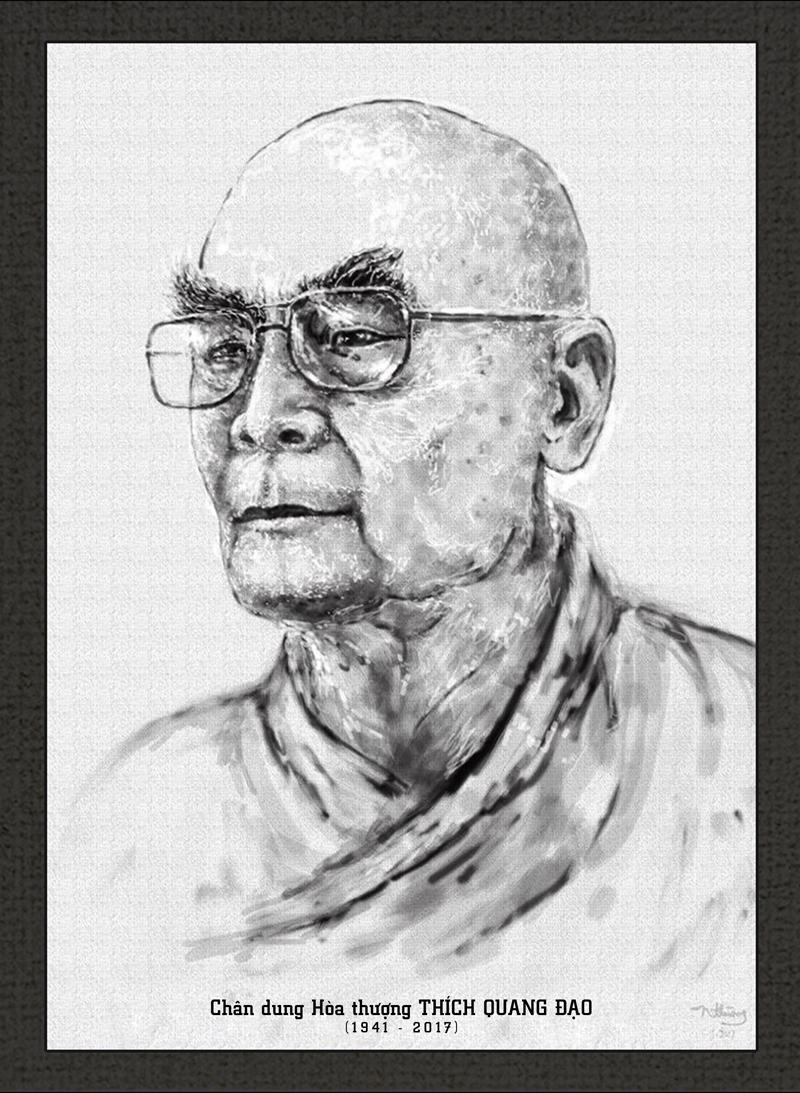 Tranh vẽ chân dung Hòa thượng Thích Quang Đạo - Họa sĩ: Nhuận Thường