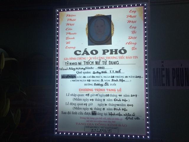 Lễ tang Ni sư Thích Nữ Từ Dung