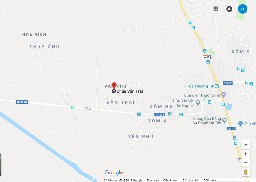 Bản đồ hướng dẫn đường đến chùa Văn Trai - Thường Tín - Hà Nội