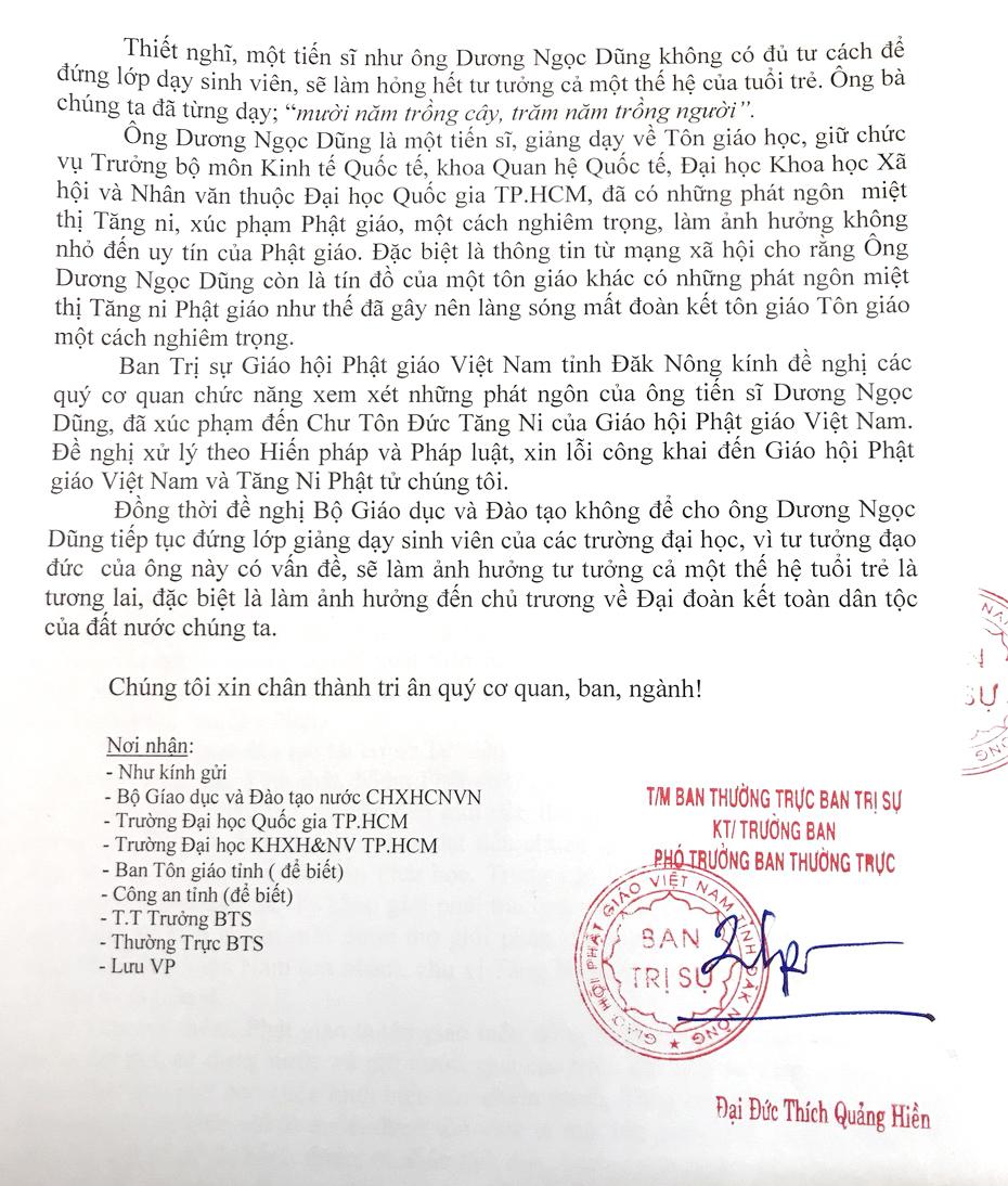 Đơn kiến nghị của Phật giáo Đắk Nông về những phát ngôn xúc phạm tu sĩ Phật giáo của tiến sĩ Dũng
