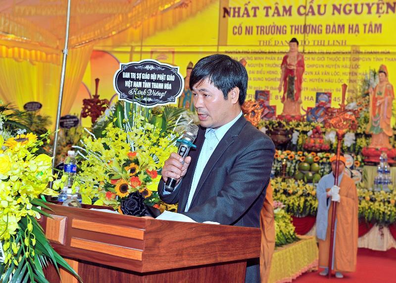 Thay mặt chính quyền địa phương, ông Trương Văn Thuấn chủ tịch UB MTTQ huyện Hậu Lộc đã phát biểu tưởng niệm cố Ni trưởng.