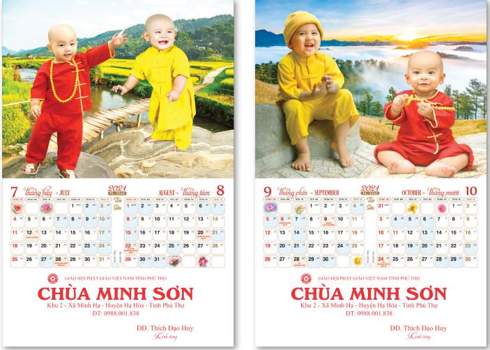 Lịch treo tường: Chú tiểu Phật giáo Bắc Tông xuân Tân Sửu 2021