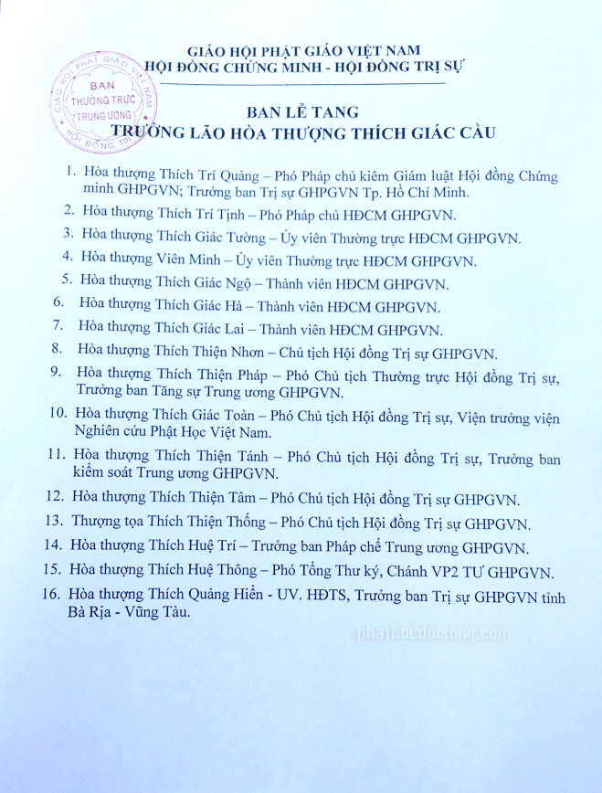 Ban tổ chức Tang Lễ Trưởng lão Ht.Thích Giác Cầu