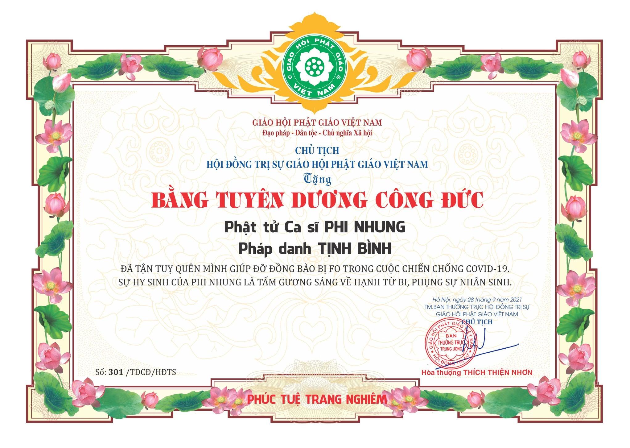 Hòa thượng Thích Thiện Nhơn-Chủ tịch GHPGVN tuyên dương công đức ca sĩ Phi Nhung
