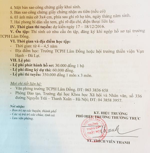 Thông Báo tuyển sinh Đại học ngành Tôn giáo học trường trung cấp Phật học Lâm Đồng