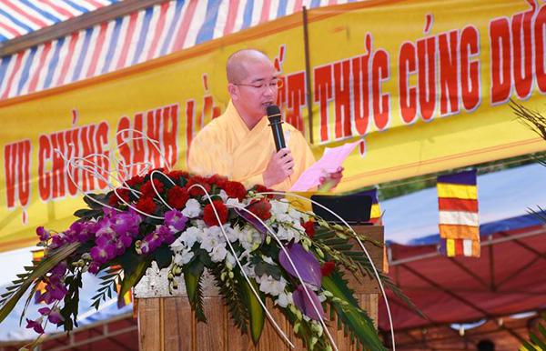ĐĐ. Thích Quảng Tráng, phó thư ký kiêm chánh văn phòng BTS GHPGVN tỉnh Đăk Nông đã đọc công bố quyết định Bổ Nhiệm Trụ Trì