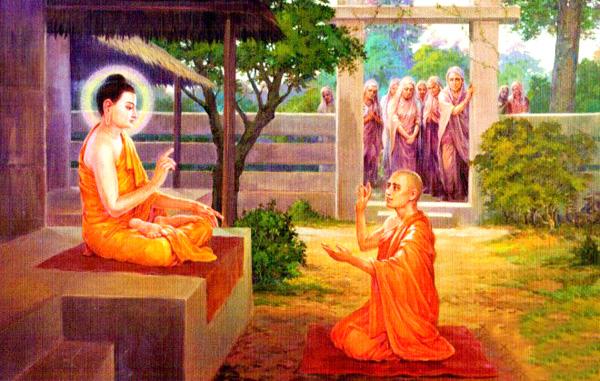 Tranh tái hiện sự kiện Tôn giả A Nan khẩn cầu Đức Phật chấp thuận cho Vương phi Ma-ha Ba-xà-ba-đề và 500 người nữ trong hoàng tộc được xuất gia - Tranh PGNN