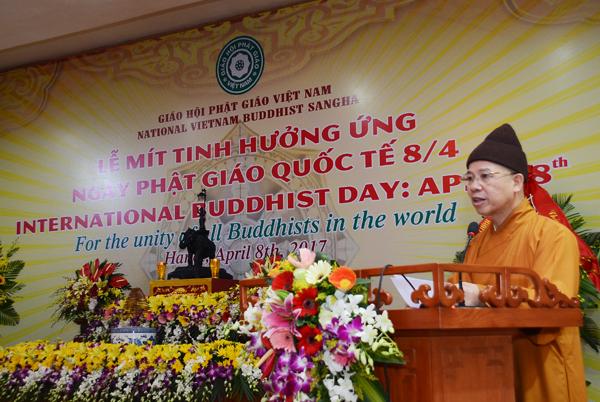 TT.Thích Thanh Quyết đọc diễn văn mít-tinh hưởng ứng ngày Phật giáo Quốc tế 8-4-2017 của Hòa thượng Chủ tịch Hội đồng Trị sự GHPGVN
