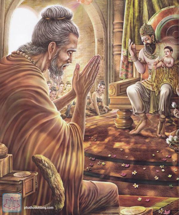 Bộ ảnh tiên A Tư Đà đến xem tướng cho thái tử Tất Đạt Đa