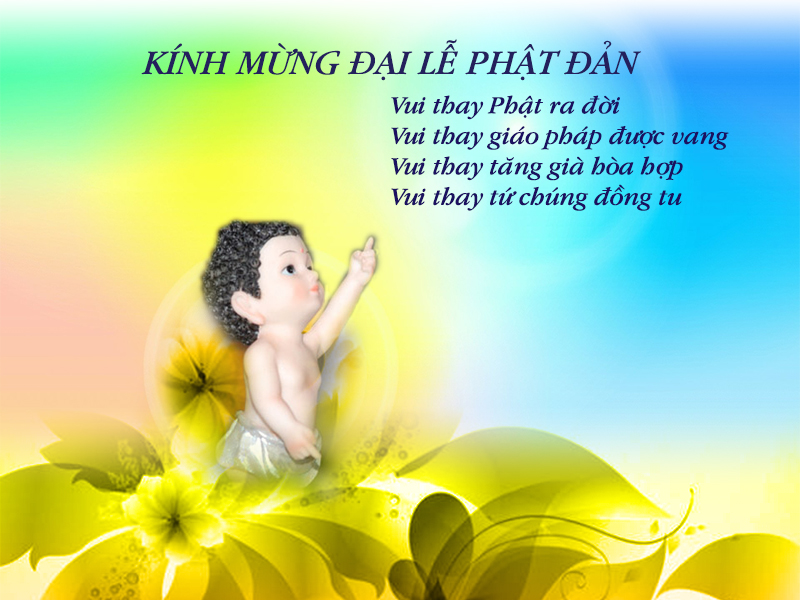Đức Phật đản sanh mẫu tượng ngước mặt lên trời, chỉ tay trái lên.