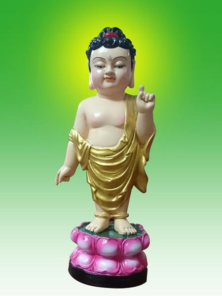 Đức Phật đản sanh mẫu tượng chỉ tay trái lên trời.