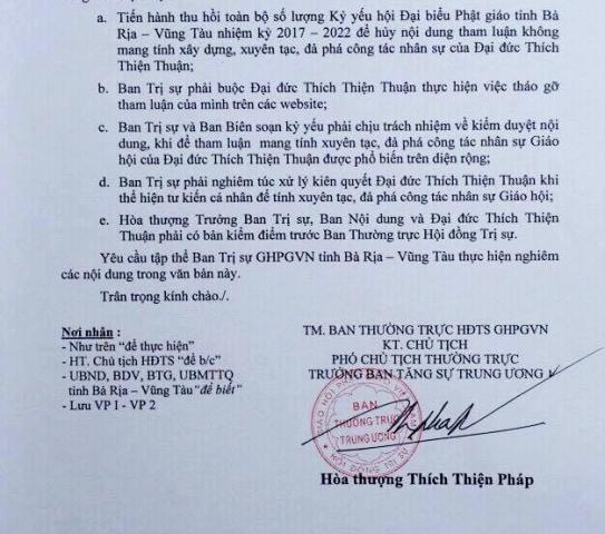 Công văn của TƯGH PGVN yêu cầu thu hồi Kỷ yếu Đại hội Phật giáo tỉnh Bà Rịa - Vũng Tàu.