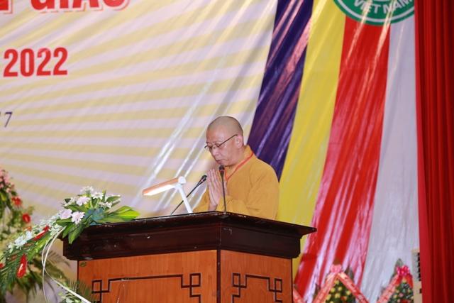 Thượng tọa Thích Quảng Tuấn - Trưởng BTS PG tỉnh phát biểu khai mạc